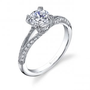 A white gold split shank diamond engagement ring from the Sylvie Collection