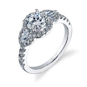 A white gold, triple halo diamond engagement ring from the Sylvie Collection