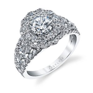 A white gold diamond engagement ring from the Sylvie Collection featuring a scalloped double halo mounting