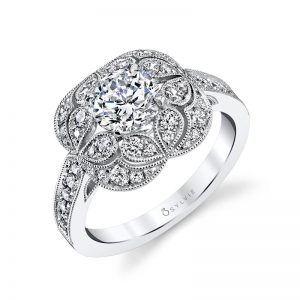 A white gold floral and vintage diamond engagement ring from the Sylvie Collection