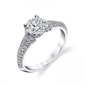 White gold vintage style diamond engagement ring from the Sylvie Collection