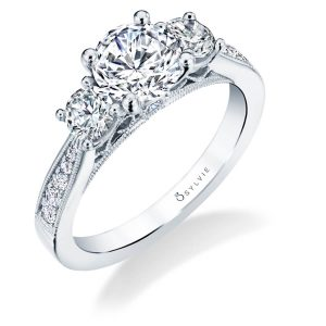 A white gold three stone diamond engagement ring from the Sylvie Collection