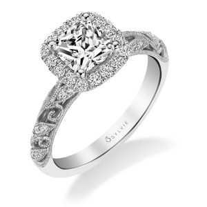 White gold diamond engagement halo style ring with floral design