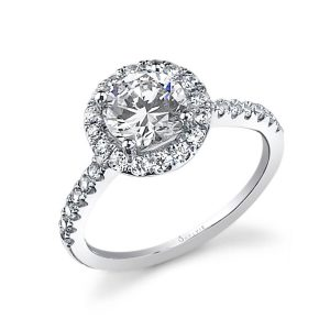 A white gold diamond engagement ring from the Sylvie Collection featuring a classic halo around a round diamond