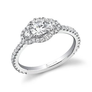 A white gold diamond engagement ring from the Sylvie Collection featuring a diamond halo around three prominent diamonds