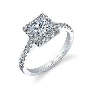 A white gold diamond engagement ring from the Sylvie Collection featuring a princess cut diamond in a square halo mounting