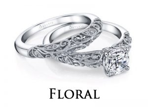 Floral themed diamond engagement rings from the Sylvie Collection