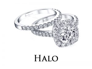Halo style Diamond Engagement Rings from the Sylvie Collection