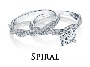 Spiral and twist style diamond engagement rings from the Sylvie Collection