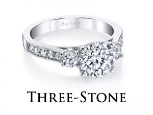 Three stone diamond engagement rings from the Sylvie Collection