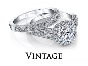 Vintage style diamond engagement rings from the Sylvie Collection