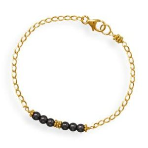 Gold filled chain bracelet with hematite beads on a bar