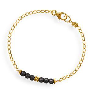 Hematite Bead Bar Bracelet