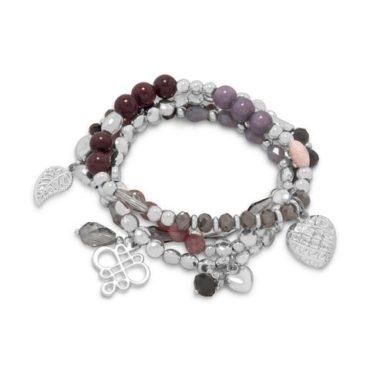 Dusty Rose and Silver Stretch Bracelet Set