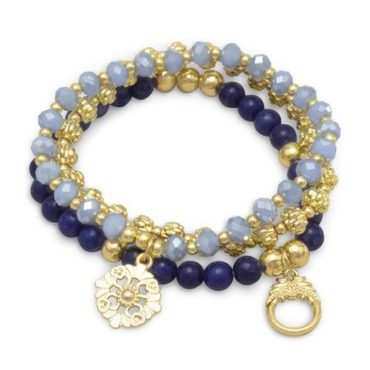 Blue Agate and Gold Stretch Bracelet Set