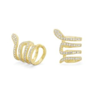 gold plated sterling silver snake ear cuffs with cubic zirconia