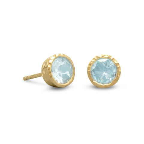gold plated sterling silver hammered bezel cup blue topaz stud earrings