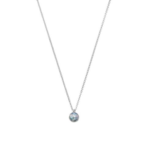 Sterling silver necklace with reversible rose and roman glass pendant