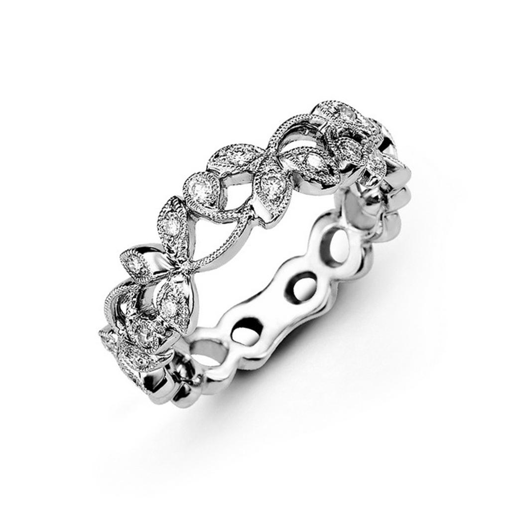 Vintage floral design diamond wedding band